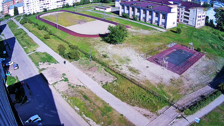 Webcam with a view of school №1 in Biysk: a stadium and basketball court
