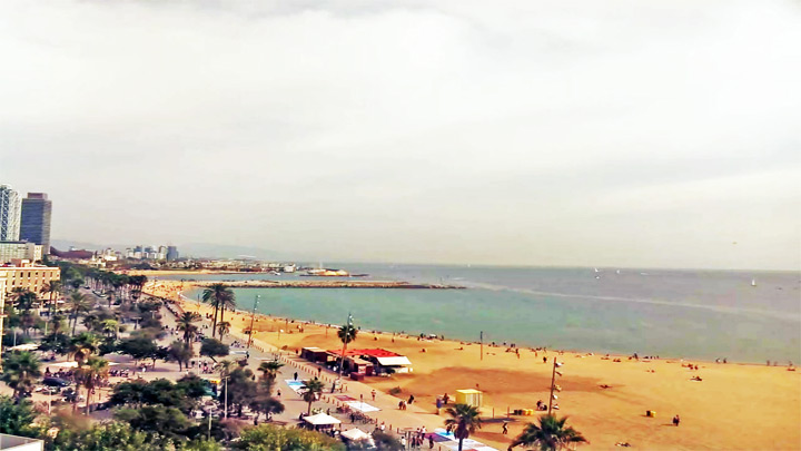 Webcam of the beach of Saint Sebastian, Barcelona