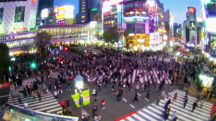 Webcam at a busy crossing in Shibuya, Tokyo: Busy crossing in Shibuya