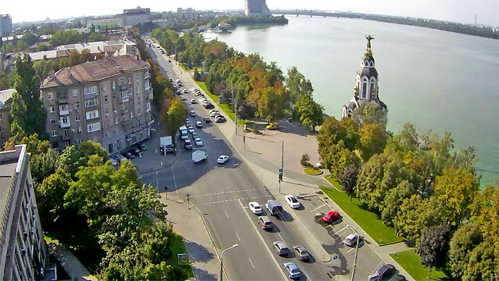 Webcam on Sicheslavskaya embankment, Dnipro