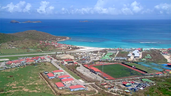 Saint Barthelemy island webcam: a view of the airfield of Gustaf III airport