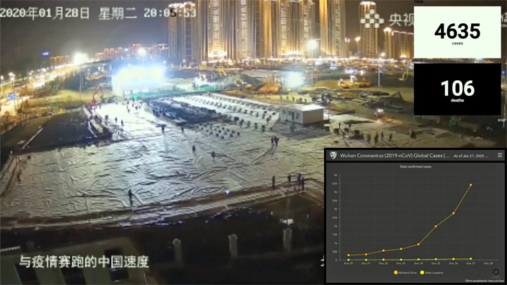 Webcam at the construction site of a hospital in Wuhan, China