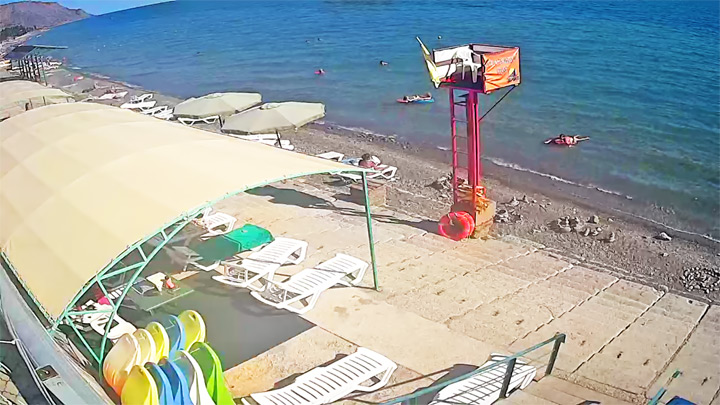 Webcam on the beach of the boarding house «Zenit» (Crimea, Morskoye)