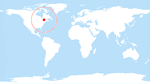 World map: Quebec